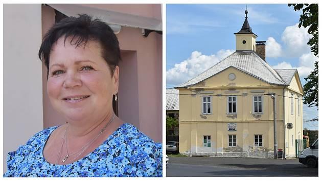 Starostka Rokle Renata Kobzová a Zámeček Rokle.