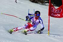 Jan Zabystřan při závodech v obřím slalomu.