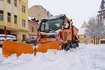 Sníh zasypal v pátek 29. ledna město Chomutov