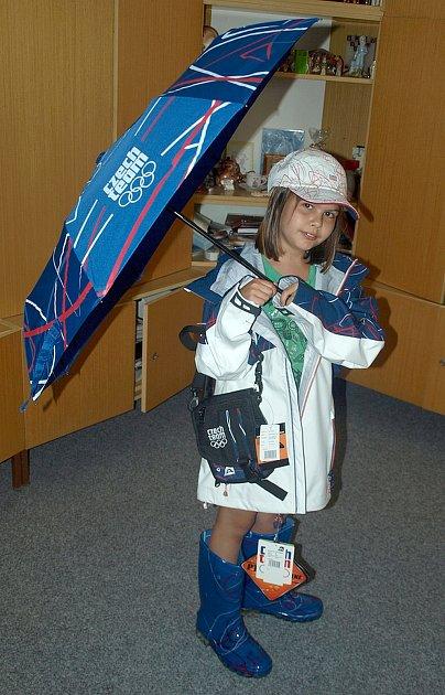 Parádnice Verunka ochotně zapózovala coby česká olympijská reprezentantka.