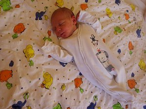 Přesně ve 2:35 hodin v kadaňské porodnici na svět přišel kluk jako buk René Filina, a to s mírami 2,7 kg a 48 cm. Od té doby se z něj raduje především maminka Ivana Filinová.
