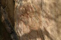 Uprostřed slon, nad ním antilopa losí (eland), pod ním pravděpodobně antilopa vraná.
