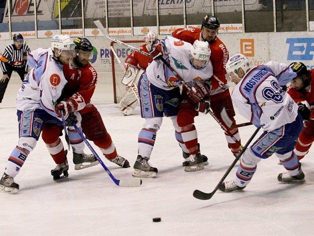 Snímky ze zápasu hokejistů Chomutova a Olomouce. Hanáci si odvezli