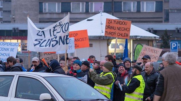 Demonstrace horníků v Chomutově