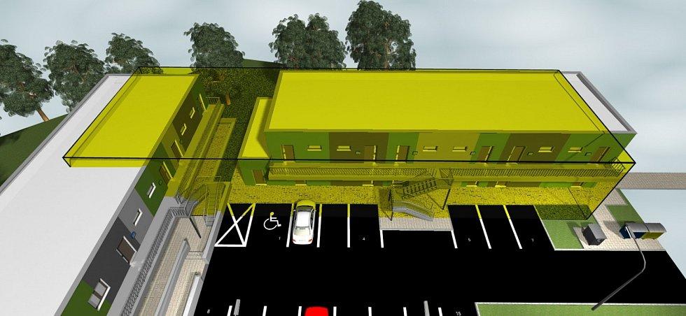 Vrchní pohled na část areálu. Žlutě vyznačený je prostor, který zabírala původní budova internátu. Ta už dnes nestojí. U patrových budov jsou parkovací místa, do bytů v patře se vchází po jednoduchém schodišti.
