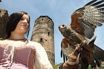 HASIŠTEJNSKÉ SLAVNOSTI. S jedním z dravců na ruce, kánětem jestřába u zříceniny pózovala i Kateřina Tucháčková.