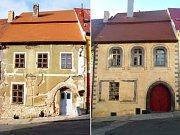 Měšťanský dům čp 163 v Kadani jak vypadal před třemi lety (vlevo) a po obnově (vpravo). Majitelé si přáli, aby se vzhledem vrátil na pomezí gotiky a renesance.