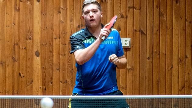 Za tým KST Jirkov A nastoupil také Michal Malý na snímku, který získal v utkání dva body.