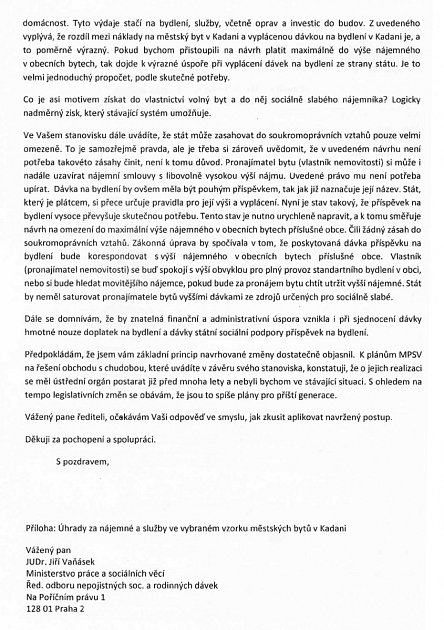 Dopis starosty Kadaně na ministerstvo