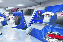 FANSHOP. Takto bude vypadat nový fanshop na zimním stadionu v Chomutově. Plné ruce práce mají nyní pracovníci reklamní společnosti Sopko, kteří novou prodejnu budují. Otevírá se již v pátek večer.