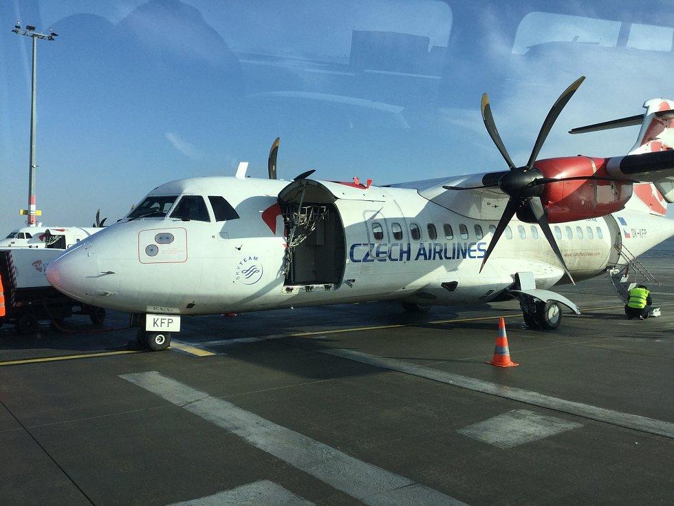 Dopravní letadlo, které pilotoval Ondřej Jungman z Pesvic.