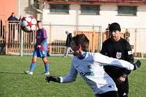 """Tomáš Česlák v utkání FC Chomutov - FC Viktoria Plzeň """"B""""."""