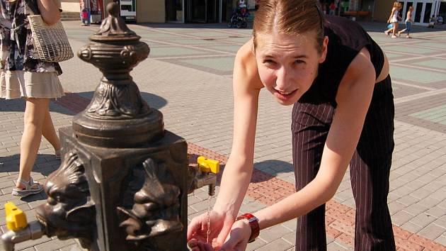 V Chomutově jsou jen tři pítka s pitnou vodou. U jednoho z nich jsme zachytili Terezu Malcovskou.