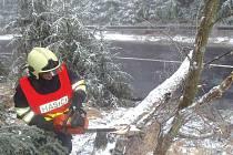 Hasiči vyjížděli v noci na středu v Krušných horách na Chomutovsku devětkrát ke stromům a větvím, jež pod tíhou námrazy spadly na vozovky. Na snímku hasič rozřezává strom u silnice za Celnou.