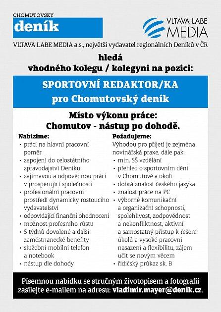 Chomutovský deník hledá sportovního redaktora