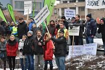 Demonstrace horníků v Chomutově 14. prosince 2018