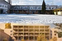Dnešní podoba bývalého Slovanu a vítězný návrh bytového domu.