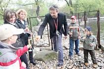 Herec Roman Zach připíjí mláděti tuleně kuželozubého.