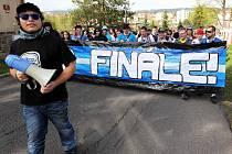 Pochod fanoušků Liberce před odvetným zápasem na jablonecký stadion
