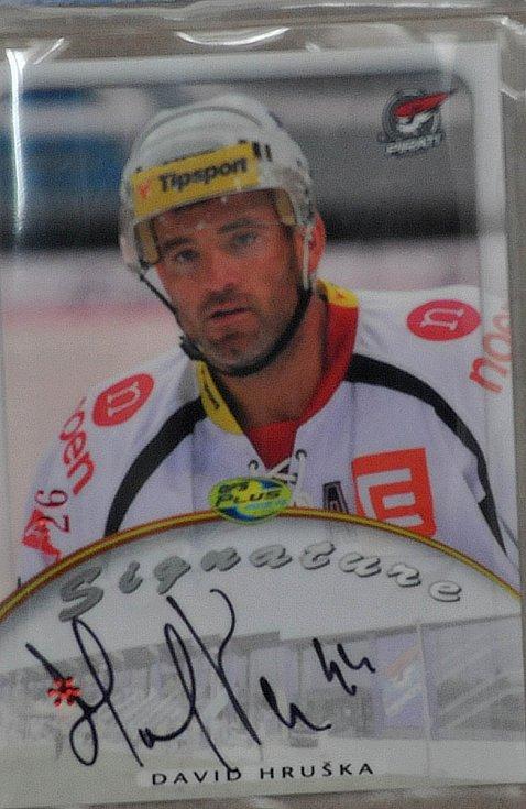 Výstava hokejových kartiček.