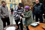 Živý betlém na náměstí v Chomutově.