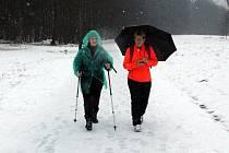 I když to vypadalo, jako že počasí pohybovým aktivitám skoro vůbec nepřeje, pršelo a padal poměrně těžký a mokrý sníh, bylo v Bezručově údolí v Chomutově poměrně živo.