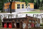 V Kadani opravili budovu veřejných záchodků. Nahoře opravená budova, dole původní stav
