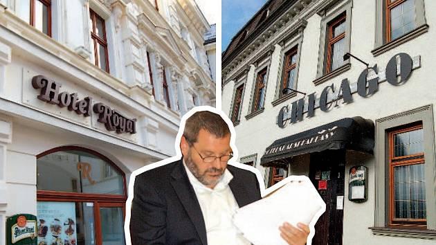 ALEXANDR NOVÁK koupil se svou manželkou a manželi Ježkovými dva hotely v Chomutově Royal (vpravo) na náměstí 1. máje a Chicago (dříve Evropa) na Blatenské.