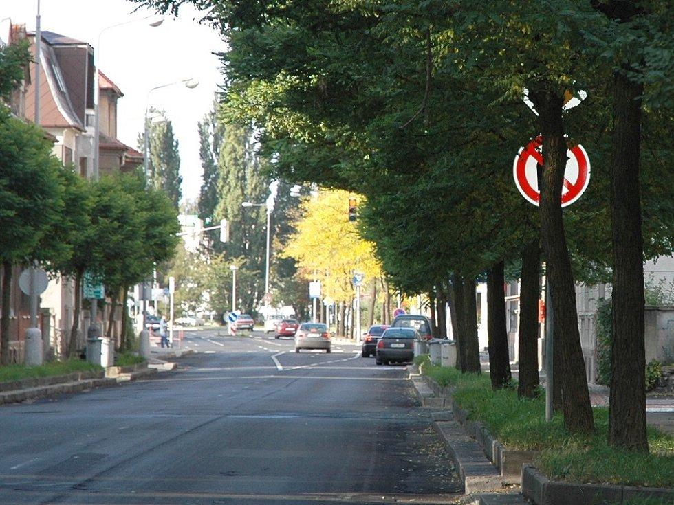 Ve Zborovské ulici v Chomutově je například značka, která je z pohledu řidiče schovaná za stromem.