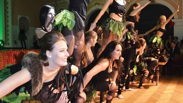 """Maturitní ples třídy 4.B Gymnázia Chomutov měl motto """"probuď v sobě zvíře"""". Na úvod maturanti předvedli nabitému sálu divadla své taneční umění."""