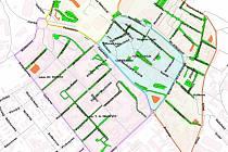 Mapka znázorňující centrum Chomutova a jednotlivé zóny.