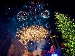Rozsvícení vánočního stromu a ohňostroj v Chomutově.