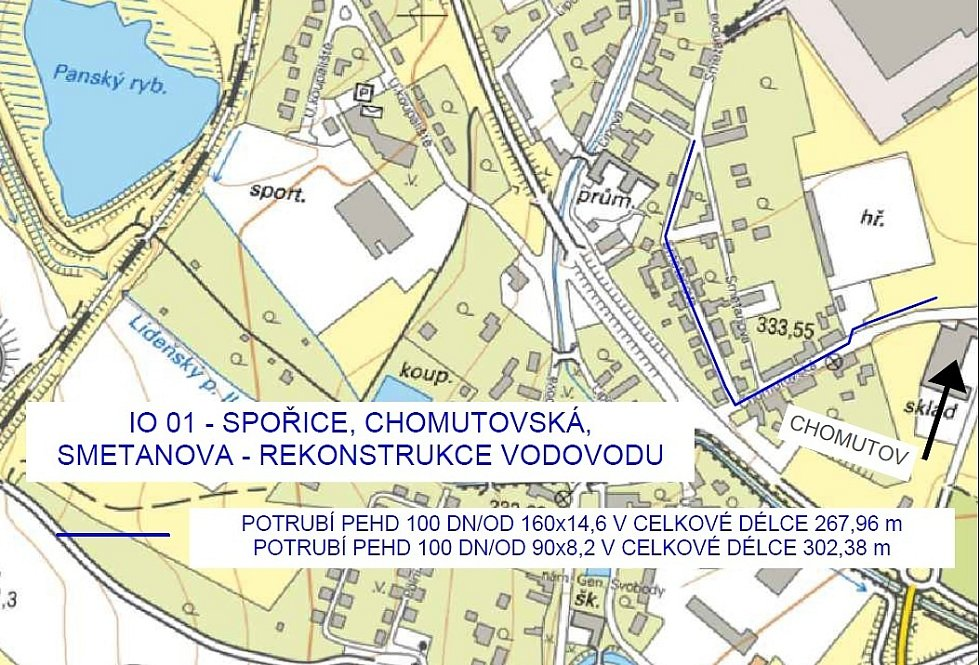 V Chomutovské a Smetanově ulici ve Spořicích dojde k rekonstrukci poruchového vodovodu.