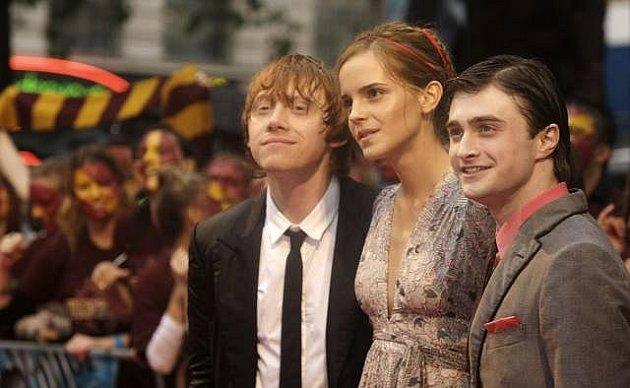 Daniel Radcliffe, Emma Watson a Rupert Grint na premiéře Harryho Pottera a prince dvojí krve