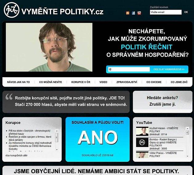 Stránka www.vymentepolitiky.cz