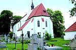 Hřbitov s kostelíkem. Pozůstatky po obci Křtěnov, která musela v roce 1991 ustoupit Temelínu