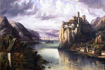 Hrad Střekov v první polovině 19. století na obraze Ferdinanda Lepié