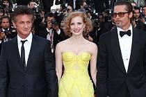 MFF v Cannes: Herecká delegace k filmu Strom života, Sean Penn, Jessica Chastain a Brad Pitt