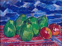 Zátiší s pěti zelenými hruškami a dvěma jablky malíře Václava Špály