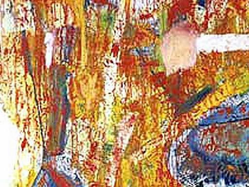 Obraz Evy Prokopcové, vyvořený originální technikou - malováním bříšky prstů