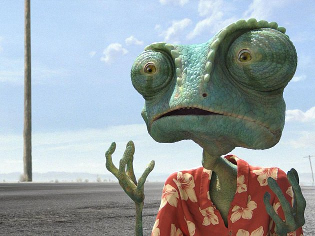 RANGO. Chameleon vržený do nepřátelského pouštního světa. Je načase stát se hrdinou… V originále namluvil Ranga Johnny Depp, v české verzi uslyšíme Ondřeje Brzobohatého.