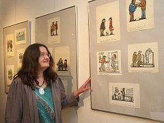 Manželka známého kreslíře Jiřího Wintera Neprakty dorazila na zahájení výstavy obrazů svého manžela do plzeňské Galerie Jiřího Trnky.
