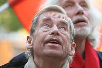 Václav Havel na nedávné návštěvě v Brně