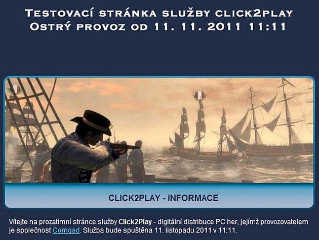 Testovací stránka služby Click2Play, digitální distribuce her.